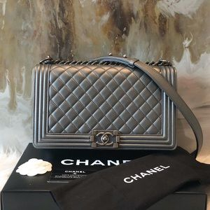 Chanel New Boy Metallic Gray Quilted Medium Bag